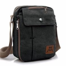 Tas Pria Men Vintage Canvas Multifunction Travel Satchel Messenger Shoulder Bag - Hijau Tua