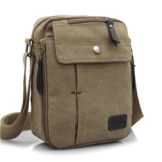 Tas Pria Men Vintage Canvas Multifunction Travel Satchel Messenger Shoulder Bag - Khaki