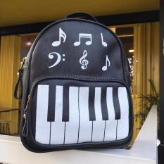 Tas Ransel Wanita Modif Piano Musical Fashion - Black