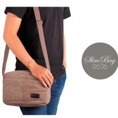 Tas Selempang Pria Kanvas Import Vintage Messenger Travel Laptop bag - Khaki