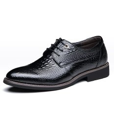 Tauntte British Style Cow Leather Formal Shoes Men Crocodile Grain Business Shoes (Black) - Intl - Intl