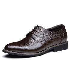 Tauntte British Style Cow Leather Formal Shoes Men Crocodile Grain Business Shoes (Dark Brown) - Intl