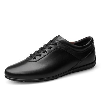 Tauntte Genuine Leather Men Sneakers Korean Breathable Casual Cow Leather Shoes (Black) - intl