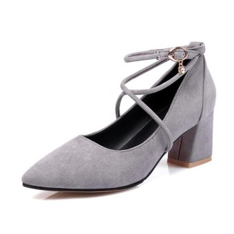 Tauntte New Fashion Ladies High Heel Shallow Pump Cross-tied Pointed Toe Flock Casual Shoes For Women (Grey) - intl
