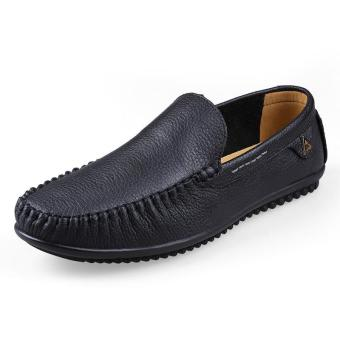 Tauntte Plus Size High Quality Genuine Leather Men Loafer Breathable Casual Anti-Odor Cow Leather Shoes (Black) - intl