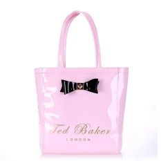 Ted Baker Fashion Waterproof Jelly Pack Vertical Section Shopping Bag Handbag Tote Bag- Pink (Large)
