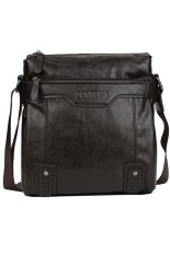 The New Men'S Fashion Casual Oil Wax Leather Shoulder Bag No Hand Dark Brown