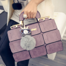 The New Spring / Summer 2016 Women Bag Suture Boston Bag Inclined Shoulder Bag Women Leather Handbags (Purple) - Intl