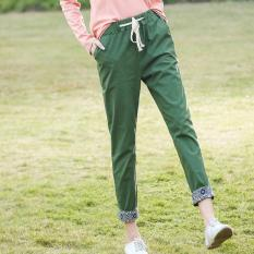 The Spring And Autumn Period And The New Style Restoring Ancient Ways Art Imitation Cotton Panty Nine Minutes Of Pants National Wind Casual Pants (Green) - Intl