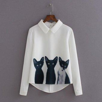 The three cat pattern long Sleeved Chiffon Shirt(M-white) - intl