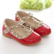Toddler Princess Girls Kids Sandals Rivet Buckle T-strap Flat Shoes Red 28 - intl