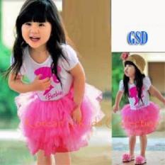 Toko Grosir Dress-Mini Dress Anak Motif Boneka-Dress Furing Pink Kid