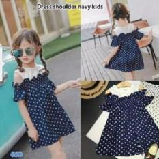 Toko Grosir Dress-Minidress Polkadot Anak Cewe-Dress Shoulder Navy