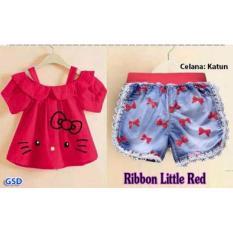 TOKO GROSIR DRESS SETELAN BAJU PENDEK ANAK CEWE SET LITTLE RIBBON RED Home .
