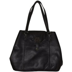 Tommy Hilfiger Womens Genuine Leather Large Flap Tote Handbag Black IFS00073503 (Intl)