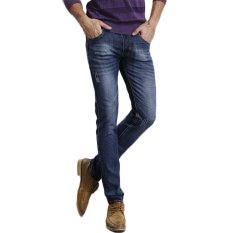 TongLuRen LNZK0005-A Jeans Fashion Men Straight Jeans Slim Stretch Denim Business Trousers Frazzle (Blue) (Intl)