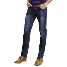 TongLuRen LNZK0007-A Jeans Fashion Men Straight Slim Stretch Denim Business Jeans Trousers (Blue) (Intl)