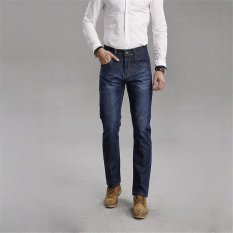 TongLuRen LNZK0017-A Jeans Fashion Men Straight Jeans Stretch Denim Business Casual Trousers (Blue) (Intl)