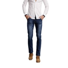 TongLuRen LNZK0018-A Jeans Fashion Men Straight Jeans Stretch Denim Business Business Slim Trousers (Blue) (Intl)