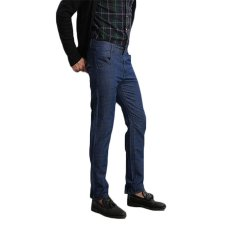 TongLuRen LNZK0022-A Jeans Casual Fashion Men Straight Jeans Stretch Denim Slim Trousers Deep Crotch (Blue) (Intl)