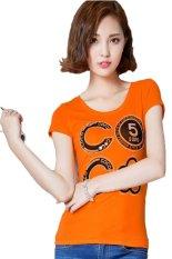 TongLuRen NSTX0049-D T-Shirts Woman Casual Fashion Number Printing Hot Drilling (Orange) (Intl)