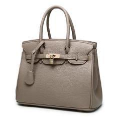 Top-Handle Bags Tote Shoulder Bags Woman HandBag Designer Shoulder Bag Girl Faux PU Leather Handbag (Coffee) - Intl