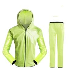 Top Rain Coat Set Outdoor Super Waterproof Jacket Pants Man Running Rain Jacket Oversize (Green) - Intl