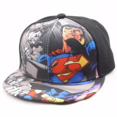 Topi Anak Gambar Superman Kartun Cartoon Printing Cap - Hitam