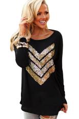 Toprank Autumn Fashion Women T-Shirt Ladies Casual Long Sleeve O-Neck Sequin T-Shirt Top Shirt (Black)