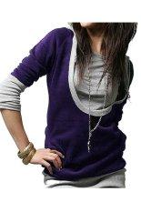 Toprank Cheapest Women Female U Neck Hoodies Pullover Sweatshirt Casual Tops Outwear Sports Wear (Purple)