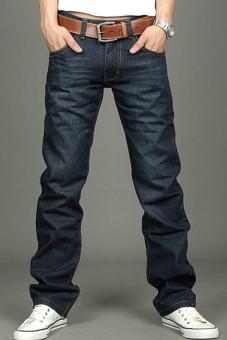 Toprank Korea pelangsing Cocok celana Jeans Pria Klasik kaki lurus ukuran 30~34 tombol New