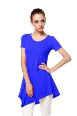 Toprank Lady Dress Women's Fashion Solid Short Sleeve Sexy Dress M L Xl Xxl 3Xl (Blue) - Intl