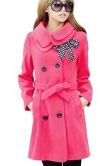 Toprank Luxury Winter Women's Double-Breasted Wool Coat Jacket (Red)