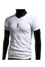 Toprank Men Clothes T Shirt High-Elastic Cotton Men'S Short Sleeve V Neck Tight Shirt Male T-Shirt B1.3324 (White)
