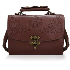 Toprank New Fashion Women Synthetic Leather Vintage Style Shoulder Bag Casual Retro Handbag (Brown)