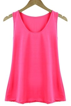 Toprank perempuan tanktop tanpa lengan kualitas perempuan mengenakan t-shirt kemeja perempuan (Berwarna Merah