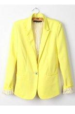 Toprank Women Jackets Candy Basic Coat Slim Suit Ladies Blazer 6 (Yellow) (Intl)