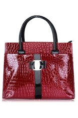 Toprank Women Leather Handbag Luxury OL Lady Zipper Tote Shoulder Bag And (Red)