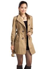Toprank Women Long Trench Coat Autumn New Winter Spring Fashion Windbreaker Overcoat Casacoss (Brown)