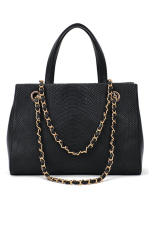 Toprank Women's Pattern Chain Leather Lady Handbag Shoulder Bag Tote 2 (Black)