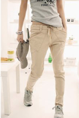 Toprank Women's Pure Pants Long Loose Casual Elastic Waist Small Leg Opening Trouser Harem Pants (Brown)