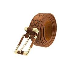 TP Crocodile Pattern Alloy Leather Waist Belt (Brown) - Intl