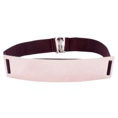 TP Dark Coffee Elastic Mirror Metal Waist Belt Metallic Bling Platewide Band For Women Ladies Accessories - Intl