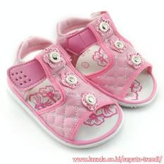 TrendiShoes Sandal Bunyi Anak Perempuan 3 Bunga - Pink