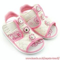 TrendiShoes Sandal Bunyi Anak Perempuan 3 Bunga - Putih