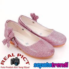 TrendiShoes Sepatu Anak Perempuan Glitter Pita Samping AP013 - Pink