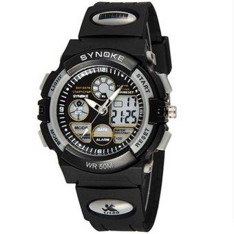 Twinklenorth Men Grey Waterproof Noctiluc Plastic Causal Analog Digital Watch Watches Wristwatches 99266-2