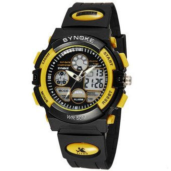 Twinklenorth Men Yellow Waterproof Noctiluc Plastic Causal Analog Digital Watch Watches Wristwatches 99266-5