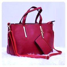 Ultimate Tas Wanita 2in1 / Top-Handle Bag / Tas Branded Wanita High Quality Korean / Tas Fashion Korean Elegant Bag Style AS- 830 - Red