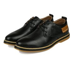 UNC 2016 New Style Spring Tide Men's Leather Shoes Cow Leather Male British Style Business Casual Shoes -Black